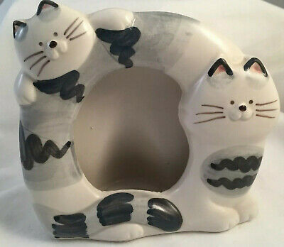 Takashi Cat Ceramic Picture Frame Gray Striped Kitty Cats Hand Painted Japan