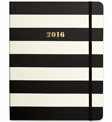 Kate Spade 2016 17-Month Medium Agenda - Black & White Stripes - New