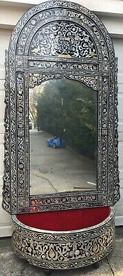 Large Egyptian Moorish wood  mirror with base inlaid With Floral Design.