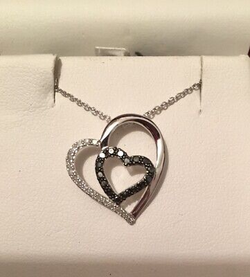 Sterling Sliver Black And White Diamond Heart Pendant Necklace