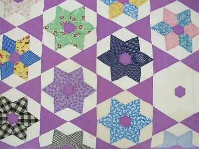 FOR RESTORATION: Striking Feed Sack Hand Sewn HEXAGONAL STAR Quilt w/ Novelty