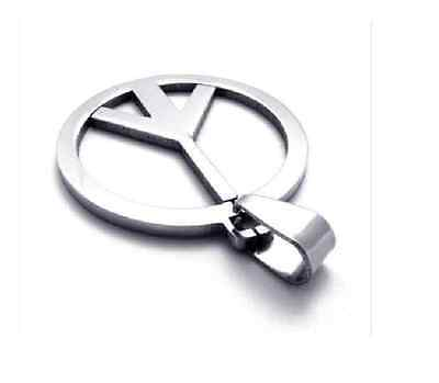 Hot Sale Fashion 316L Stainless Steel Peace sign Pendant Womens Mens Necklace