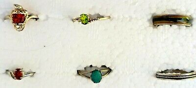 Lot-6 Small/Dainty Vintage Sterling Silver/Peridot/Citrine Rings - Eagle/Bird