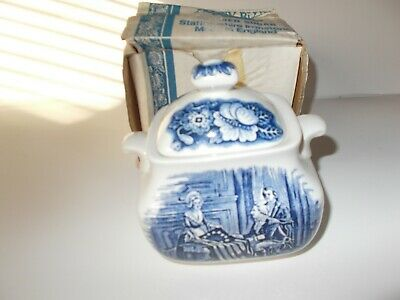 Liberty Blue Staffordshire England Historic Colonial Scenes Sugar Bowl with Lid