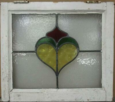 "OLD ENGLISH LEADED STAINED GLASS WINDOW Nice Abstract Heart Design 20.5"" x 18"""