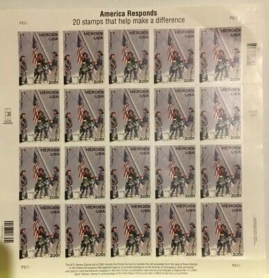 US Postage Stamps 34c America Responds. 9/11 Heroes USA September 11, 2001