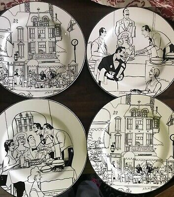 "Epoch  Le Restaurant Collection Set Of 4 Assorted 10.5"" Dinner Plates"