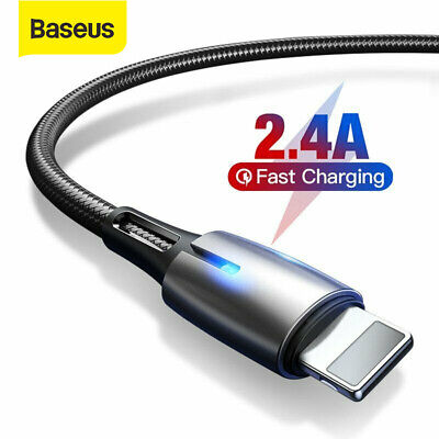 Baseus LED 2.4A Fast Charging Lead USB Charger Cable for iPhone XR Xs Max 8 Plus