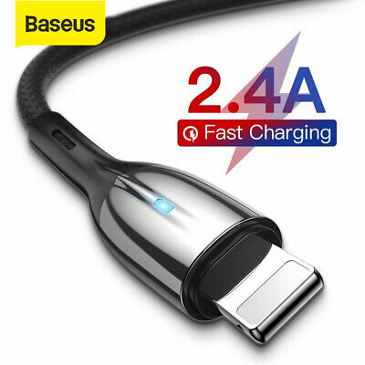 Baseus USB Cable for iPhone XR Xs Max X LED lighting 2.4A Fast Charge Data Cable