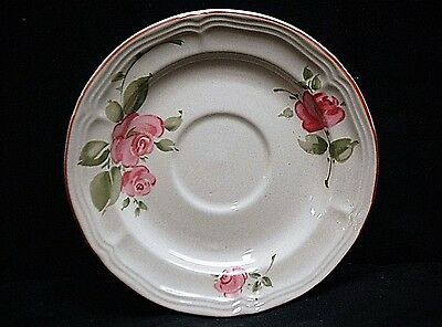 Old Vintage Roseland by Gibson Housewares China Saucer Plate Pink Roses & Trim