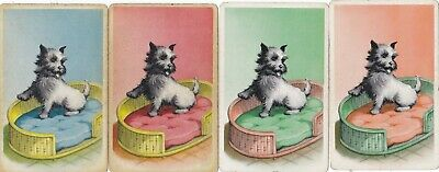 Rarely Seen Dogs In Baskets - Set Of 4 Singles - Very Pretty - See Details