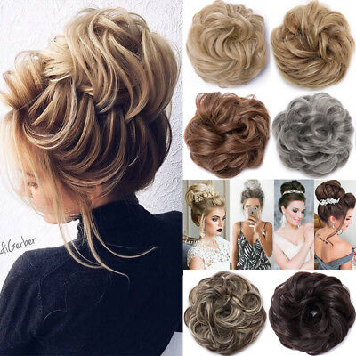 Real Natural Curly Messy Bun Hair Piece Scrunchie Hair Extensions As Human FT5