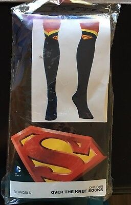 a8caacb85 Superman Supergirl DC Comics Costume Cosplay Long Over The Knee High Suit  Socks