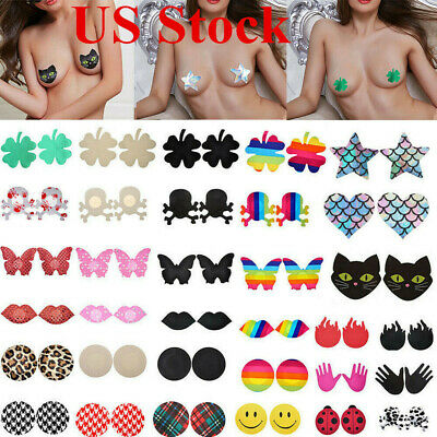 10/20x Pasties Breast Nipple Cover Lingerie Sequin Self Adhesive Bra Pad Sticker