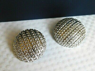 RARE VTG MONET PATD. signed SILVER LUX CLIP ON EARRINGS HEAVY BUTTON CHAIN D30