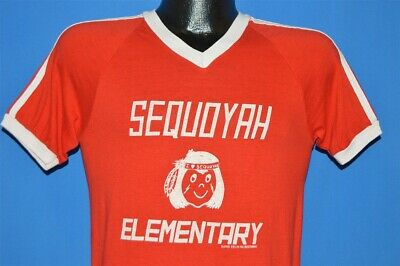 vintage 80s SEQUOYAH ELEMENTARY SCHOOL NATIVE AMERICAN RINGER t-shirt SMALL S