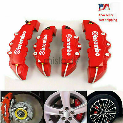 4Pcs 3D Style Car Universal Disc Brake Caliper Covers Front & Rear Kits RED NEW