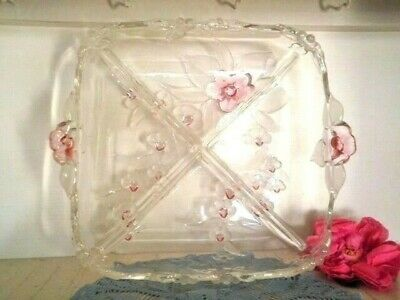 Vintage Walther Glass Serving Dish West Germany 4 Sections Pink Floral Heavy Vgc