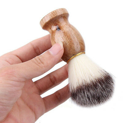 Men Shaving Beard Cleaning Brush Nylon Hair Wood Handle Facial Barber Tool Envy