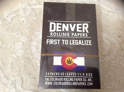 "DENVER CIGARETTE ROLLING PAPER 11/4"" (32mm) 24 PACKS FULL BOX) NEW"