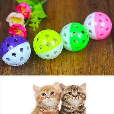 Plastic Puppy Cat Round Play Ball With Bell Pounce Chase Rattle Chew Toys Envy