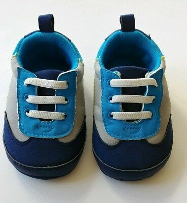 59bd11c9e Baby Boy Child of Mine Carter s Size 0-3M Blue Crib Shoes Soft Sole Sneakers