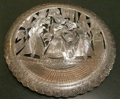 Sterling Silver EGYPTIAN REVIVAL PLATE 142 grams.