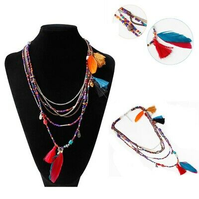 Long  Beads Chain Tassel Feather Pendant Ethnic Stylish Multilayer Necklace