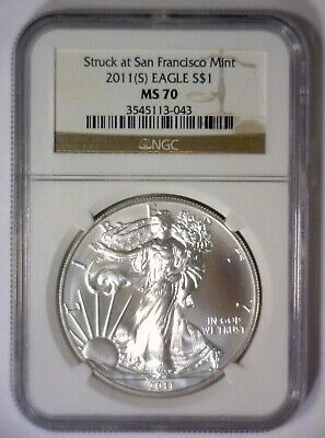 2011 (S) American Silver Eagle San Francisco Mint Struck ~ NGC MS70 MS 70