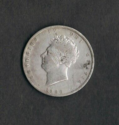 RARE 1826 GEORGE 4th UK HALF CROWN GREAT BRITAIN .925 SILVER