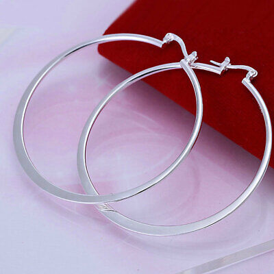 2018  Fashion jewelry large Circle charm solid 925silver earring  gift HE185
