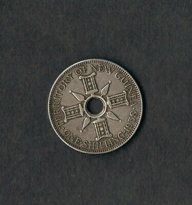 1938 Territory Of New Guinea Shilling Coin .925 Silver