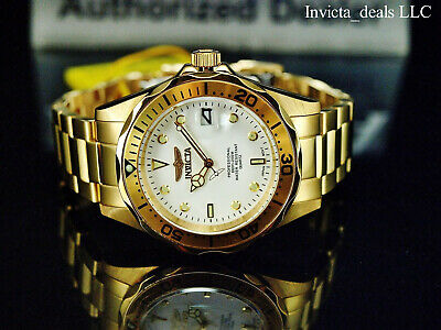 Invicta Mens 38mm Pro Diver 18K Gold Ion Plated White Dial Stainless Steel Watch
