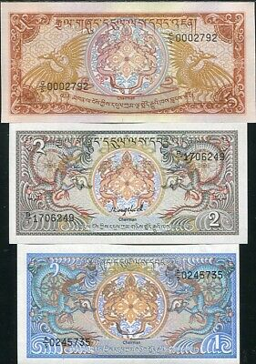 Bhutan Set 3 Pcs 1 2 5 Ngultrum Nd 1985 P 12 13 14 Unc