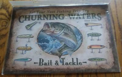 Churning Waters Bait & Tackle Metal Tin Sign Mancave Decor Fishing Bait Shop NEW