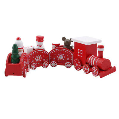 Wooden Four-Section Little Train Christmas Decor Home Ornaments New Year B