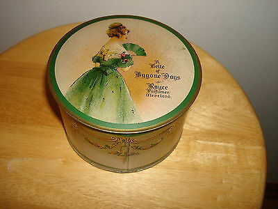 Vintage A Belle Of Bygone Days Royce Gardenia White Face Powder Puff Tin Box