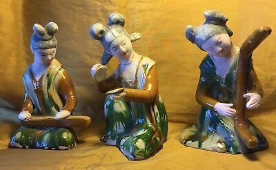 "Vtg Lot 3 Chinese 8"" Sancai Tri-Color & Bisque Painted Pottery Musician Figures"