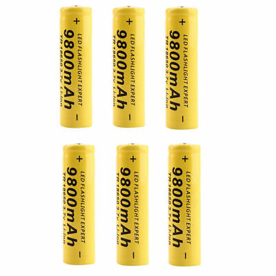 6x 3.7V 9800mAh Li-ion Rechargeable 18650 Battery for Flashlight Torch LED RC US