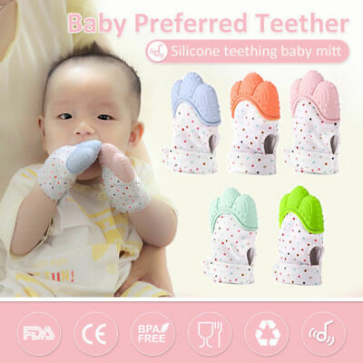 Baby Silicone Mitts Teething Mitten Glove Wrapper Sound Teether Gifts BPA Free