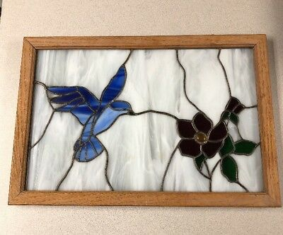 Stained Window Glass Wood Frame Blue Bird Red Flower