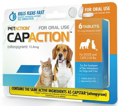 CapAction Flea Treatment for Dogs and Cats 2-25 lbs 6 Tablets Sealed Exp 4/2021