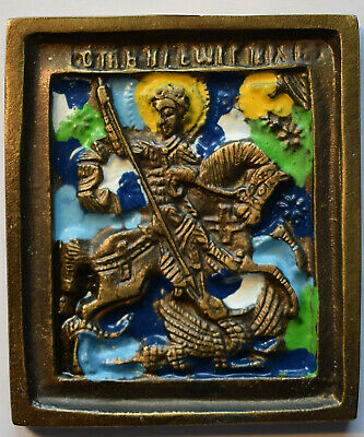 "RUSSIAN ORTHODOX ICON "" Saint George "", handmade, copper alloy, enamel."