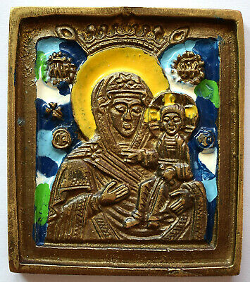 "RUSSIAN ORTHODOX ICON ""Mother Mary"", handmade, copper alloy, enamel."