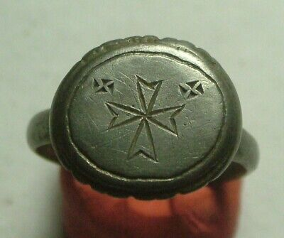 Rare Genuine Ancient Roman Silver ZODIAC LUNAR archers Ring artifact Sun star