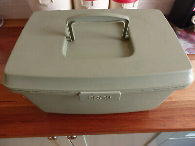 """Olive Green """" Birch """" Sewing Box with insert tray.. Lots of ribbons"""
