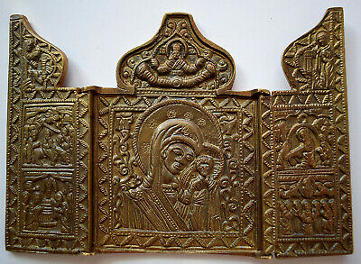 "RUSSIAN ORTHODOX ICON ""Mother Mary, triptych"", handmade, copper alloy."