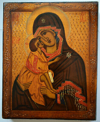 """RUSSIAN ORTHODOX ICON """" Mother Mary """", handpainted, tempera"""