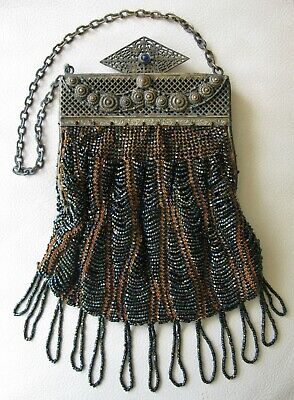 Antique Art Nouveau Gold T Frame Hand Knit Brown Iridescent Bead Fringe Purse Top Watermelons Periods & Styles Vintage Accessories