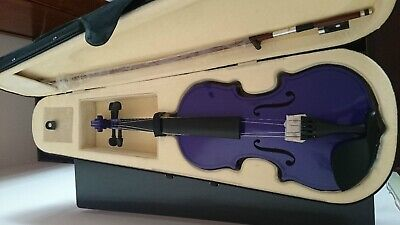 Student Acoustic Violin Full 4/4 Maple Spruce with Case Bow Rosin Purple Color